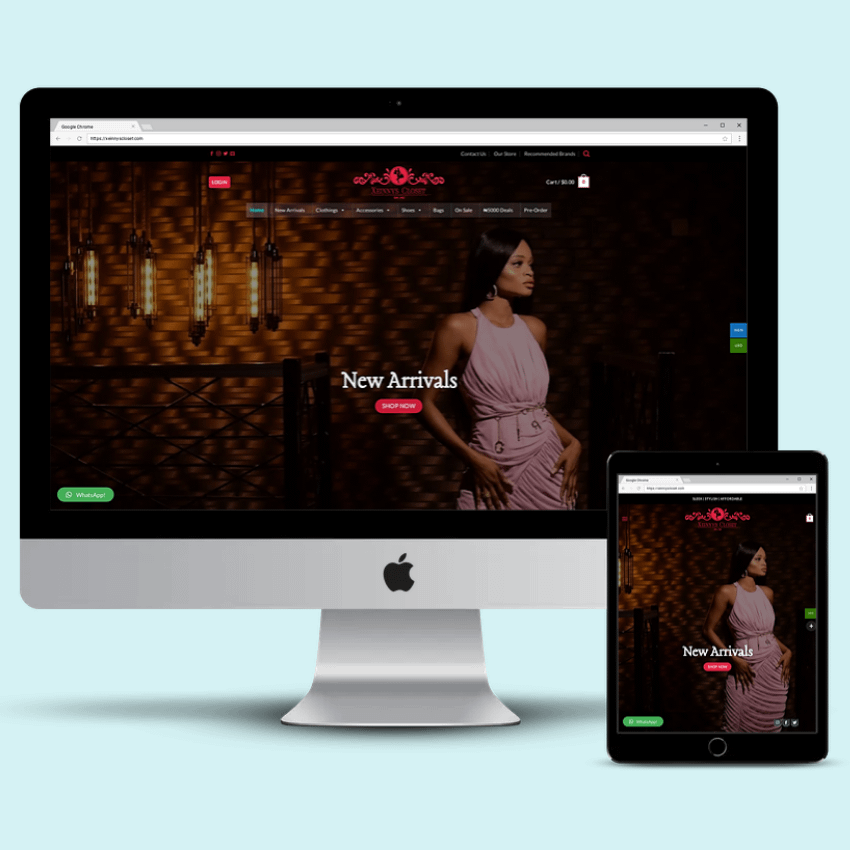 Ecommerce Website Design Xeinnys Closet