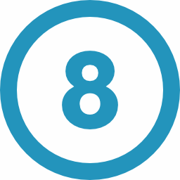 Number 8 icon used on the affordable website design page of Capremark Network
