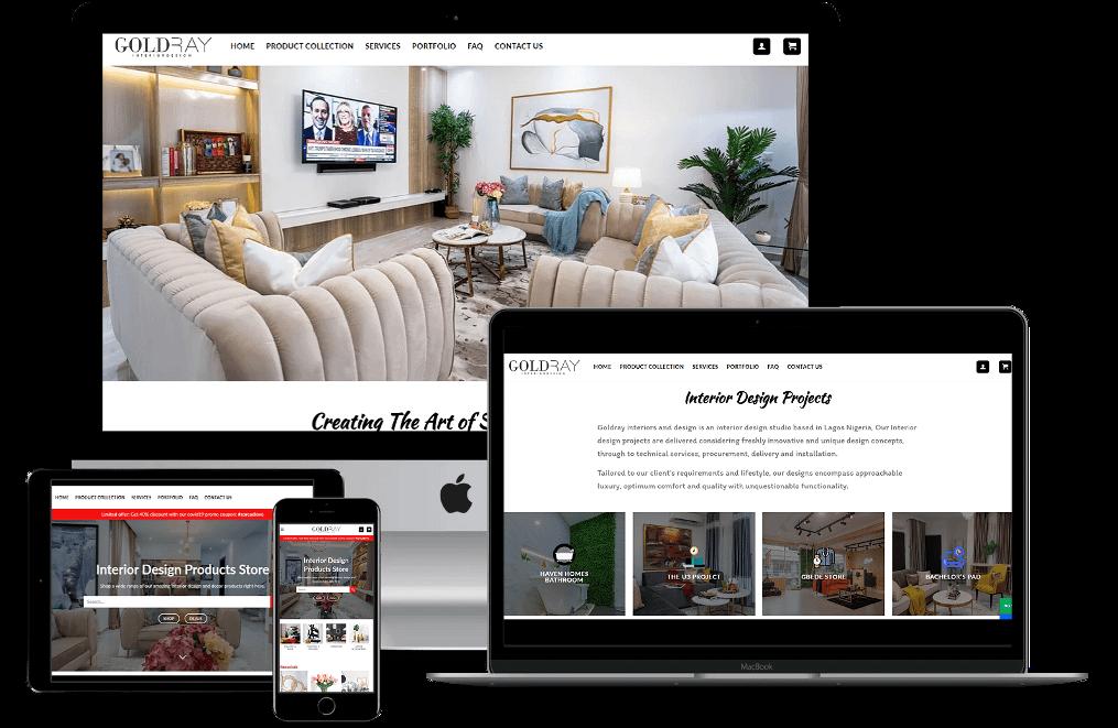 Affordable Website Design Mockup For Goldray Interior Designs_Business + Shop Website